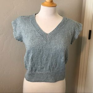 Blue Vintage Cap Sleeve Knit Crochet Sweater